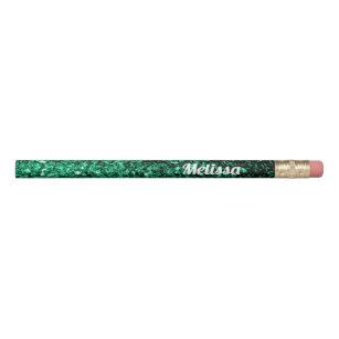 Personalize Emerald Green Glitter Sparkles Pencil