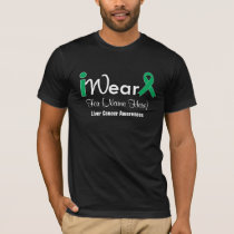 Personalize Emerald Green Ribbon Liver Cancer T-Shirt