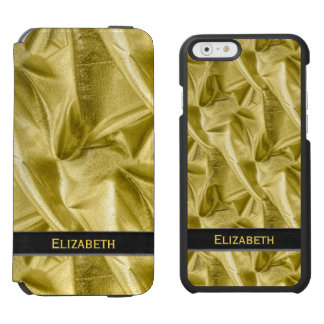 Personalize:  Faux Black and Gold Lame' Metallic iPhone 6/6s Wallet Case
