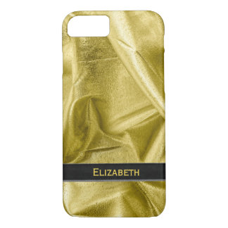 Personalize: Faux Black and Gold Lame' Metallic iPhone 8/7 Case