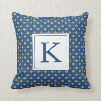 Personalize Faux Gold Glitter Polka Dot Hearts Throw Pillow