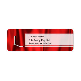 Personalize:  Faux Red Satin Fabric Texture Label