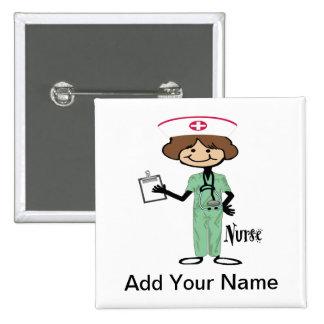 Personalize Female Nurse Pinback Button
