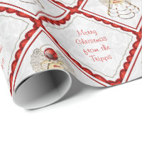 Personalize - Filigree Merry Christmas Angel Wrapping Paper