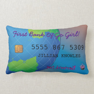 Personalize First Divorce Credit Card Humor Lumbar Pillow