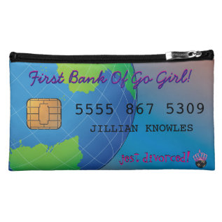Personalize First Divorce Credit Card Makeup Bag at Zazzle