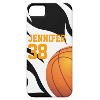 Personalize Flaming Basketball B/W iPhone 5 Cases