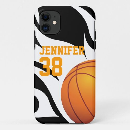 Personalize Flaming Basketball B/W Phone Case