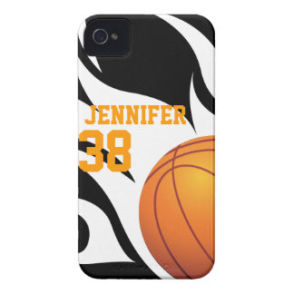 Personalize Flaming Basketball B/W iPhone 4 Case-Mate Case