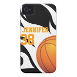 Personalize Flaming Basketball B/W iPhone 4 Cover