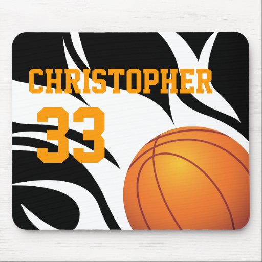 Personalize Flaming Basketball B/W Mouse Pad