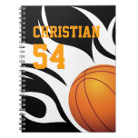 Personalize Flaming Basketball B/W Spiral Note Books