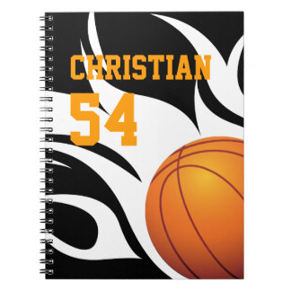 Personalize Flaming Basketball B/W Notebook