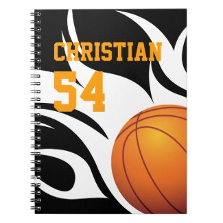 Personalize Flaming Basketball B/W Notepad Spiral Note Books