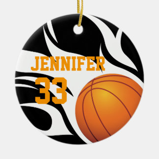 Personalize Flaming Basketball B/W Christmas Tree Ornaments