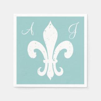 Personalize fleur de lis paper napkins for wedding