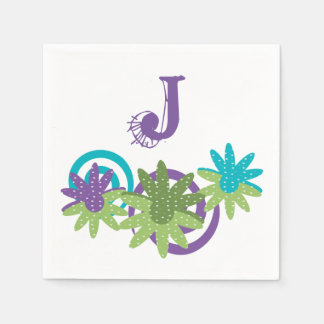 Personalize Floral Funky Monogram Paper Napkin