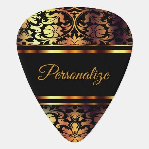Personalize Floral Gold Metallic  Guitar Pick