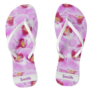 Personalize: Floral Photography Abstract Orchids Flip Flops