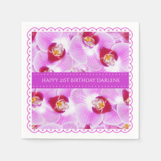 Personalize:  Floral Photography Purple Orchid Napkin
