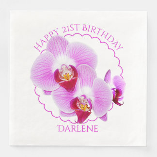 Personalize:  Floral Photography Purple Orchid Paper Dinner Napkin