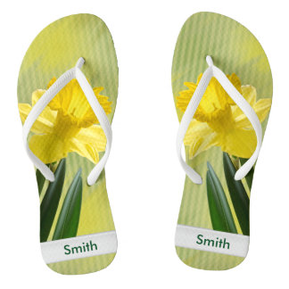 Personalize:  Floral Photography, Yellow Daffodil Flip Flops