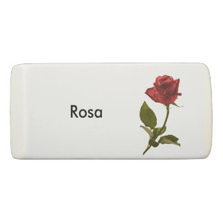 Personalize: Flower Pic Minimal Red Rose Eraser