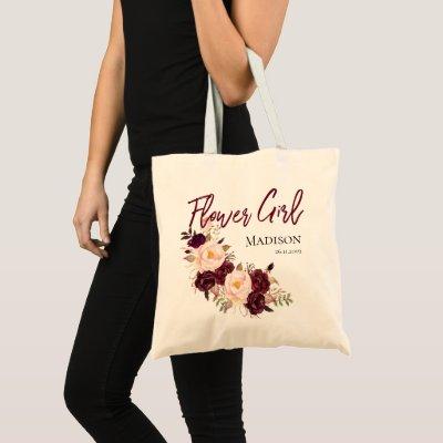 Personalize Flowergirl   Wedding Tote Bag