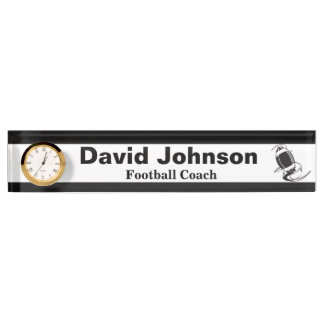 Personalize Football Coach Name Plate with Clock