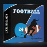 """Personalize Football in Blue and Black Binder<br><div class=""""desc"""">Football Sport Players Binders. 100% Customizable. Ready to Fill in the box(es) or Click on the CUSTOMIZE button to add, move, delete or change any of the text or graphics. Made with high resolution vector and/or digital graphics for a professional print. NOTE: (THIS IS A PRINT. All zazzle product designs...</div>"""