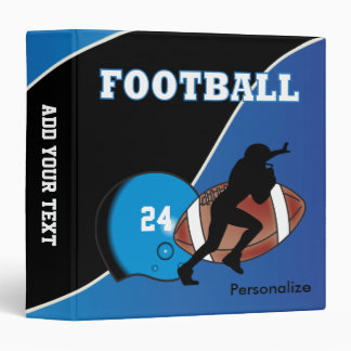 Personalize Football in Blue and Black Binder