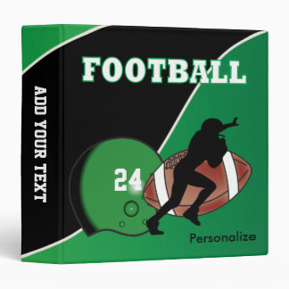 Personalize Football in Green and Black Binder