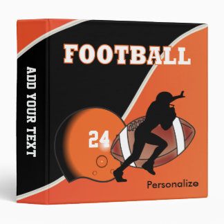 Personalize Football in Orange and Black 3 Ring Binder