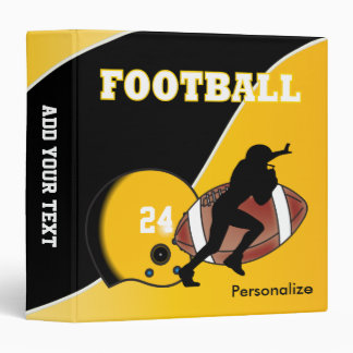 Personalize Football in Yellow and Black 3 Ring Binder
