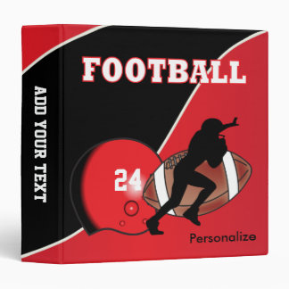 Personalize Football Red and Black 3 Ring Binder