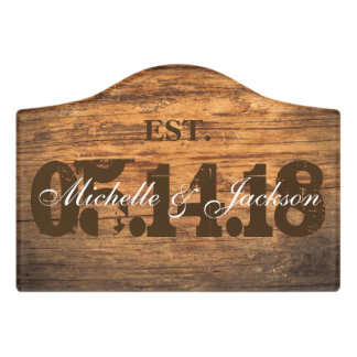 Personalize for the Bride and Groom - Vintage Wood Door Sign