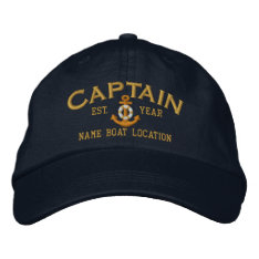 Personalize For Year Name Captain Lifesaver Anchor Embroidered Baseball Cap at Zazzle