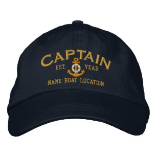 7405f3c8 Personalize for Year Name Captain LifeSaver Anchor Embroidered Baseball Cap