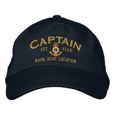 CaptainShoppe Personalize for Year Name Captain LifeSaver Anchor Embroidered Baseball Cap