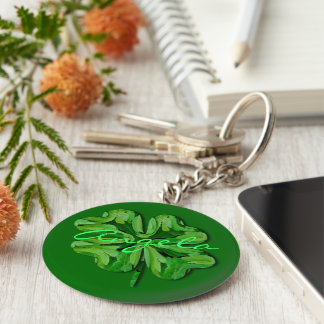 Personalize Four Leaf Clover with Name Keychains