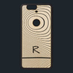 """Personalize: Fun Distorted Black and White Stripes Wood Nexus 6P Case<br><div class=""""desc"""">Personalize this modern,  fun fractal art of distorted black lines creating random waves and a black crooked circle.  Use the template to easily add your initial or monogram.  If you need to change the font size,  click on the &quot;Customize it&quot; button for the editing tools.</div>"""