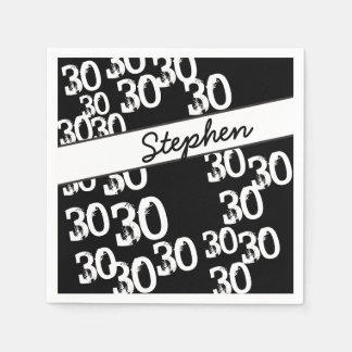 Personalize Funky 30th Birthday Paper Napkin