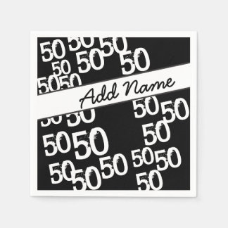 Personalize Funky 50th Birthday Paper Napkin