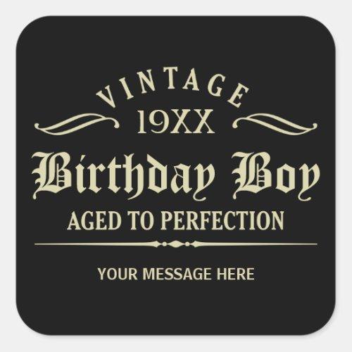 Personalize Funny Birthday Black Square Sticker