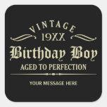Personalize Funny Birthday Square Sticker