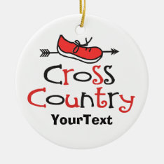 Personalize Funny Cross Country Runner ©shoe Arrow Ceramic Ornament at Zazzle