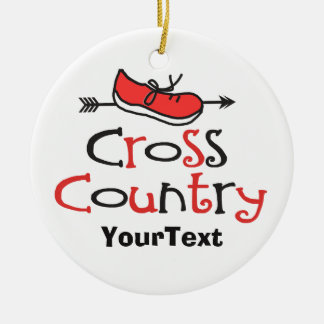 PERSONALIZE Funny Cross Country Runner ©Shoe Arrow Double-Sided Ceramic Round Christmas Ornament