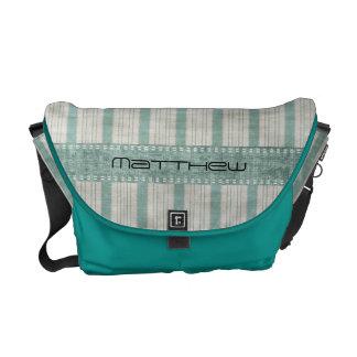 Personalize Geometric Aqua & White Linen Stripes Courier Bag