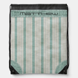 Personalize Geometric Aqua & White Linen Stripes Drawstring Bag