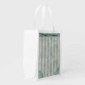 Personalize Geometric Aqua & White Linen Stripes Grocery Bags